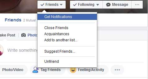 how to Get A Notification When Your facebook Friend Posts Something