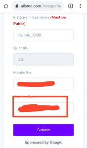 Instagram Follower Service Configuration Enter Email all SMO