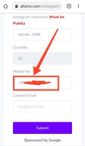 Instagram Follower Service Configuration Enter Phone Number all SMO