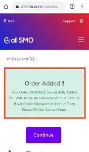 Instagram Follower Service Order Success Page all SMO