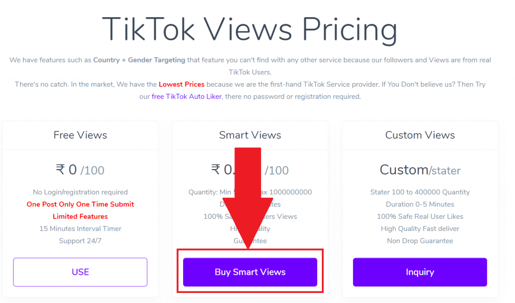 Tiktok Smart Views Description Page all SMO